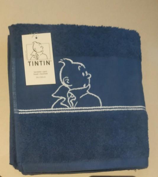 Tim und Struppi Handtuch (50x100) blau 100% Baumwolle mit Waschlappen